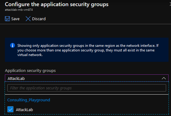 Select the application security group