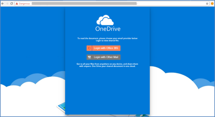 Attacker Phishing Page Mimicking Microsoft One Drive Login
