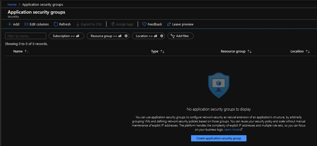 Azure Application security group home
